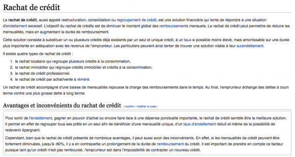 définition wiki rachat de crédit