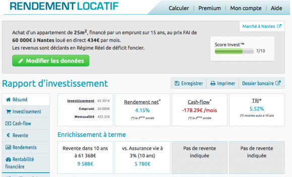 calcul d'un rendement locatif en version premium